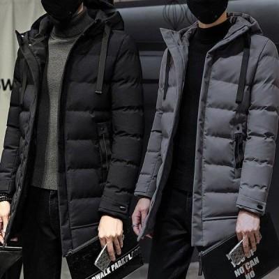 ダウンジャケット メンズ 中綿ジャケット ロング丈 ダウンコート キルティング 無地 防寒 軽量 フード付き ブルゾン 厚手アウター おしゃれ