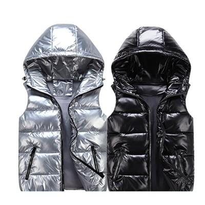 ベスト レディース/メンズ 中綿ベスト ダウンベスト 防寒ベスト チョッキ ジレ アウター 秋冬 カップル ペアルック フード付き 大きいサイズ 5色