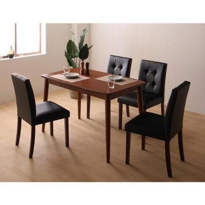 さっと拭ける PVCレザーダイニングシリーズ fassio 5点セット テーブルW115+チェア4脚 チェア色 ブラック4脚