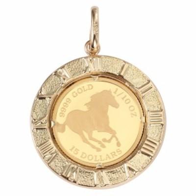 純金 K24 ホース 馬 1/10oz 金貨 コイン ペンダントトップ アトラス 時計文字 ゴールド デザイン枠 新品 送料無料 メンズ レディース プ