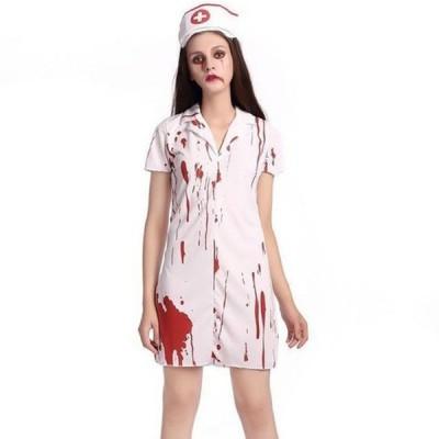 ゾンビ ナース ナース服 コスプレ ハロウィン コスチューム ゾンビ 仮装 白衣 看護婦 血まみれ 血のり パーティーグッズ XLサイズ