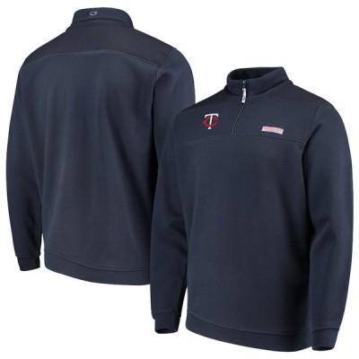 """メンズ ジャケット """"Minnesota Twins"""" Vineyard Vines Shep Shirt Quarter-Zip Pullover Jacket - Navy"""