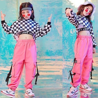 キッズダンス衣装 ヒップホップ HIPHOP セットアップ 子供 チェックトップス チェック柄 ズボン ガールズ レディース ロングパンツ 練習着 演出服