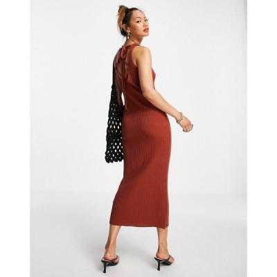 エイソス ASOS DESIGN レディース ワンピース レースアップ ミドル丈 ワンピース・ドレス knitted midi dress with lace up back detail in brown ブラウン