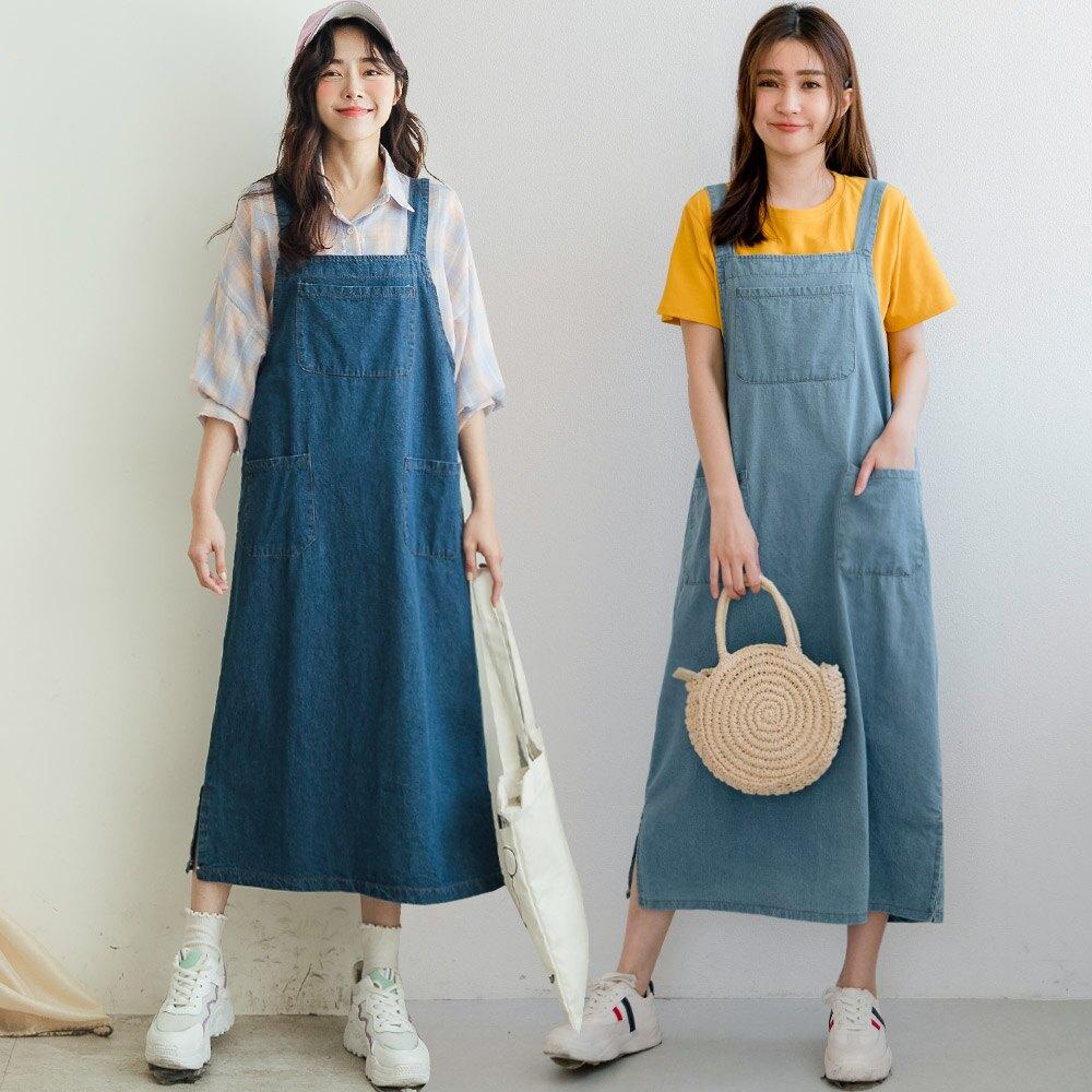 MIUSTAR 三口袋寬吊帶牛仔裙(共2色)裙子 吊帶裙 0427 預購【NJ1116】