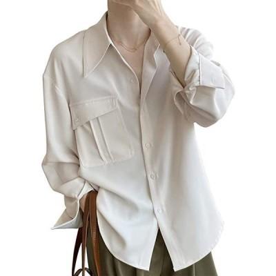 シャツ レディース ブラウス長袖 おしゃれ 着痩せ 体型カバー ゆったり トップス カジュアル 無地 普段着 フォーマル 2(s2111131314)