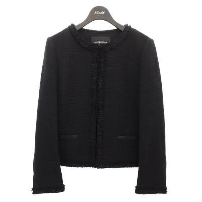 green label relaxing ノーカラーツイードジャケット ブラック サイズ:38 (明石店) 210606
