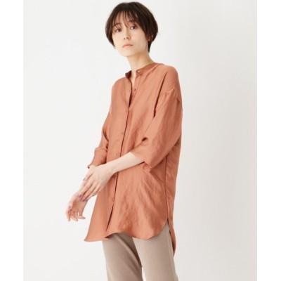 【オペークドットクリップ】 CAFFISI オフェリアサテン バンドカラーシャツ レディース ダーク オレンジ 38(M) OPAQUE.CLIP