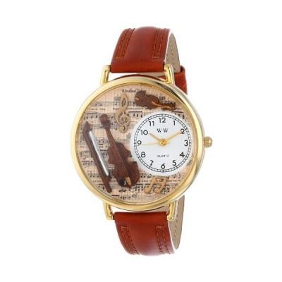 海外取寄品--バイオリン 茶色レザー ゴールドフレーム時計 #G0510002