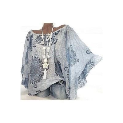 レディース 衣類 トップス Women'S Fashion Floral Print Lace Trim 3/4 Batwing Sleeve Blouse Top Plus Size S-5Xl ブラウス&シャツ