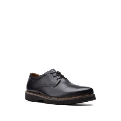 クラークス メンズ ドレスシューズ シューズ Bayhill Plaid Toe Oxford - Wide Width Available BLACK LEAT