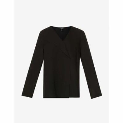 セオリー THEORY レディース トップス フレア ちりめん クレープ シルク Flared-Sleeve V-Neck Silk-Crepe Top BLACK
