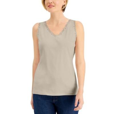 ケレンスコット カットソー トップス レディース Cotton Scalloped-Lace Tank Top, Created for Macy's Pebble