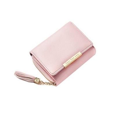 Kahonsin レディース 財布 三つ折り ミニ財布 小銭入れ 大容量 女性用 タッセル ピンク