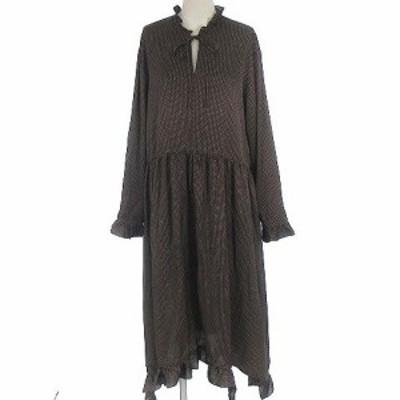 【中古】ルシェルブルー LE CIEL BLEU 19AW ポルカ ドット フリル ドレス ワンピース ロング 長袖 ブラウン 茶 36