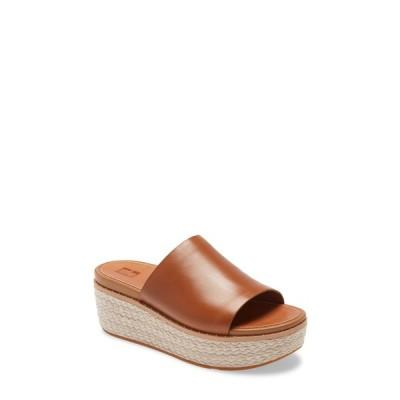 フィットフロップ スリッポン・ローファー シューズ レディース Eloise Platform Espadrille Slide Light Tan Leather