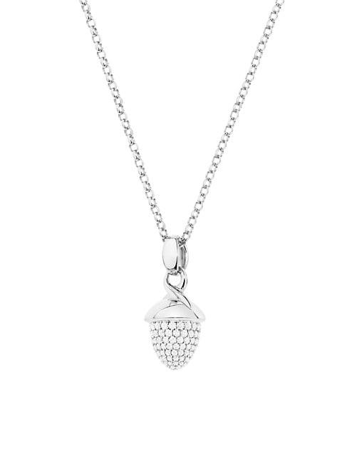 Mikado Bouquet 18K White Gold & Diamond Pavé Acorn Pendant