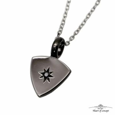 Heart of concept/ハートオブコンセプト トライアングルネックレス シルバー925 ジルコニア ブラック ギターピック 三角形 清潔感 ステン