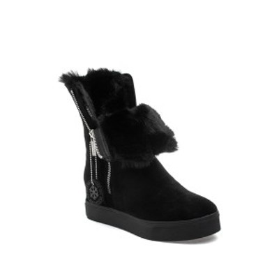 Jスライド レディース ブーツ&レインブーツ シューズ Winne Waterproof Faux Fur Boot BLACK SUEDE