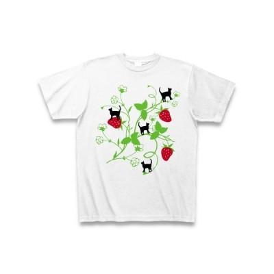 イチゴと猫 Tシャツ(ホワイト)