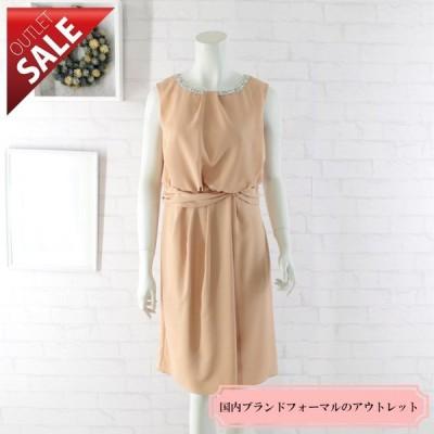 66%OFF 日本製 結婚式 二次会 ドレス ネックビジューミディアムドレス9号(オレンジ)