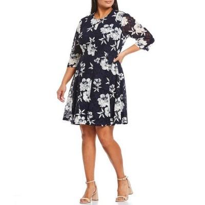 ジェシカハワード レディース ワンピース トップス Plus Size Floral Print 3/4 Sleeve Lace Burnout Dress Navy Ivory