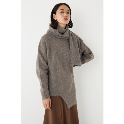 Asymmetry Stole Knit BEG