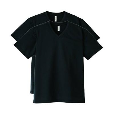 (グリマー)glimmer半袖 4.4オンス ドライ Vネック Tシャツ 00337-AVP [メンズ] 2枚セット ブラック 4L