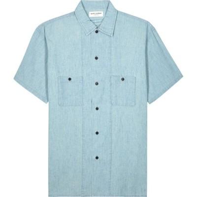 イヴ サンローラン Saint Laurent メンズ シャツ シャンブレーシャツ トップス blue chambray shirt Blue