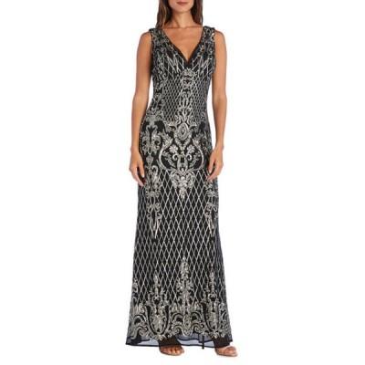 アールアンドエムリチャーズ レディース ワンピース トップス Petite Long Vintage Beaded V-Neck Sleeveless Dress