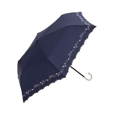ビコーズ(Because) 折りたたみ傘 ネイビー 47cm フラワー刺繍 ミニ 6本骨 BE-09951