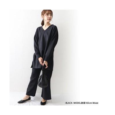 【オウンコード】 ecoスエードスウェットセミフレアパンツ レディース ブラック L OWNCODE