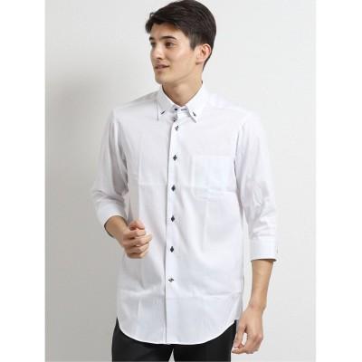 【タカキュー】 アイスカプセル形態安定スリムフィット 3枚衿ボタンダウン7分袖ビジネスドレスシャツ/ワイシャツ メンズ ホワイト LL(XL) TAKA-Q