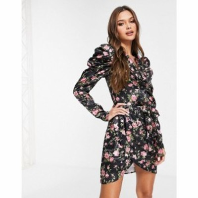 ラーレ Rare レディース ワンピース ラップドレス ワンピース・ドレス London Floral Satin Wrap Dress ブラック
