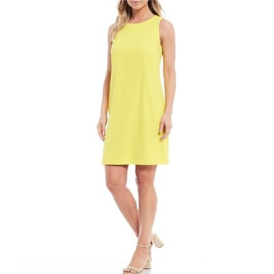 プレストンアンドヨーク レディース ワンピース トップス Brenda Sleeveless Stretch Crepe Shift Dress Lemon Zest