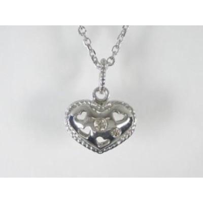 K18WG ホワイトゴールドダイヤモンド ハート ペンダント ネックレス