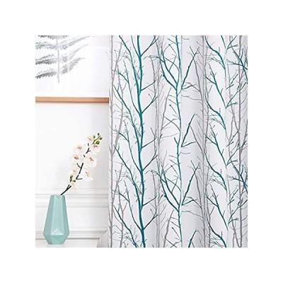 REEPOW ツリーブランチ 部屋を暗くするカーテン 長さ96インチ ティールとグレー グロメット付き遮光ウィンドウドレープ スライドガラスドア用 幅