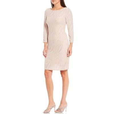 ジェシカハワード レディース ワンピース トップス 3/4 Sleeve Glitter Metallic Knit Shift Dress Blush