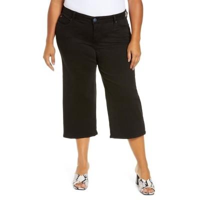 スリンクジーンズ デニムパンツ ボトムス レディース Distressed Wide Leg Capri Jeans Solid Black