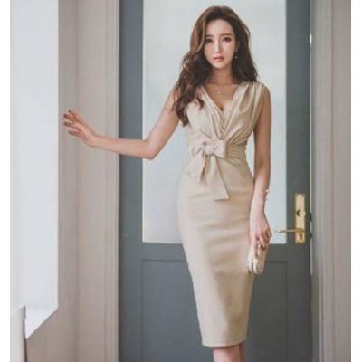 ワンピースドレス 結婚式 膝丈 韓国 ファッション Vネック ノースリーブ リボン ハイウエスト タイト スリット きれいめ セクシー お呼ば