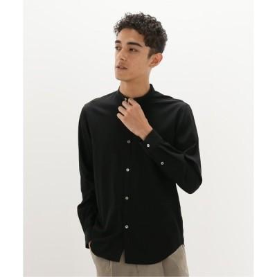シャツ ブラウス ウォッシャブルバンドカラーシャツ
