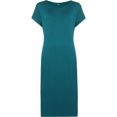 (ウェアオール) WearAll 女性のプラスサイズの普通半袖ストレッチジャージミディドレス (ティール - 6L / 7L)