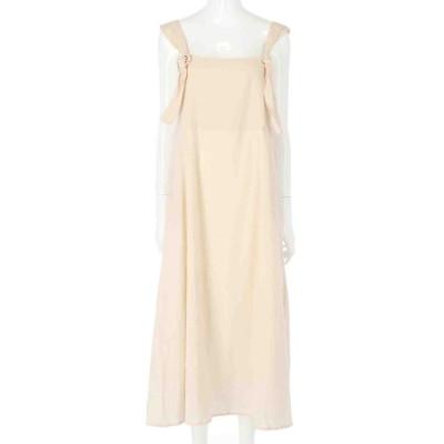 CHILLE ショルダーリボンデザインジャンパースカート(アイボリー)