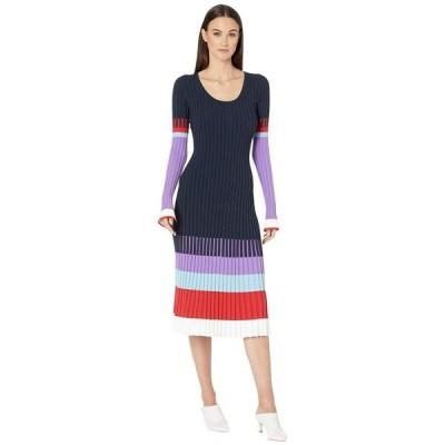 プラバルグラング レディース ワンピース トップス Scoop Neck Color Blocked Long Sleeve Dress