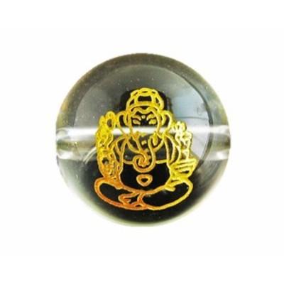 ガネーシャ 水晶 (金色入り)12mm 縦穴 手作りにオススメ! 天然石 パワーストーン