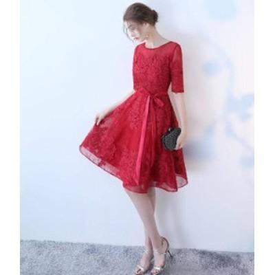 韓国 ファッション レディース パーティードレス ワンピース レース シースルー 袖あり 大きいサイズ 膝丈 結婚式 お呼ばれ 同窓会 二次