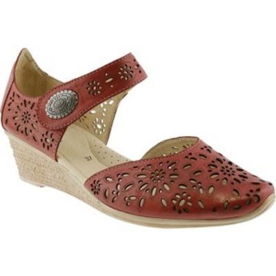 スプリングステップ レディース サンダル シューズ Nougat Closed Toe Sandal Red Leather