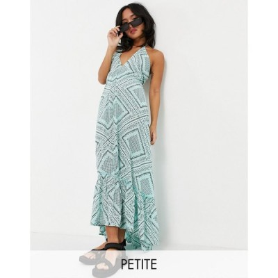エイソス ミディドレス レディース ASOS DESIGN petite halter tiered maxi beach dress in green bandana print エイソス ASOS マルチカラー