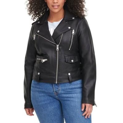 リーバイス ジャケット&ブルゾン アウター レディース Trendy Plus Size Faux-Leather Moto Jacket Black