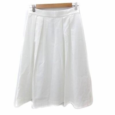 【中古】未使用品 ガール Girl スカート ボックスプリーツ フレア ロング L 白 ホワイト /NS4 レディース